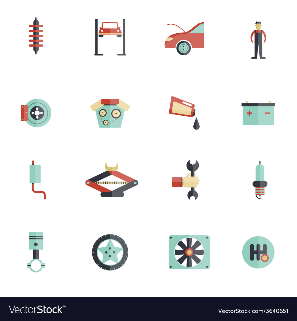 Auto service flat icon vector | Price: 1 Credit (USD $1)