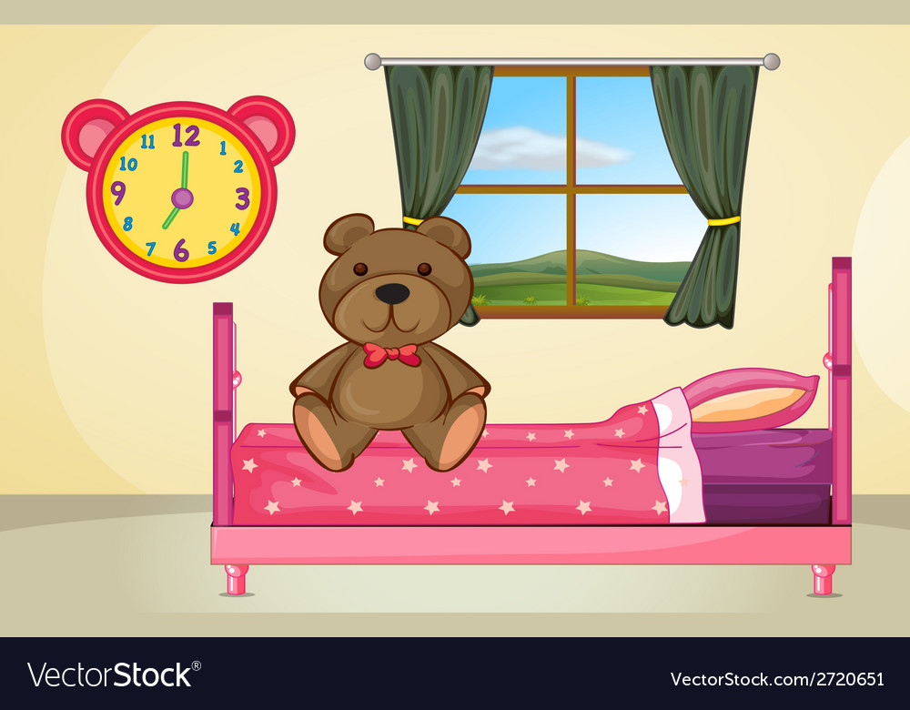 Bear on bed vector | Price: 1 Credit (USD $1)
