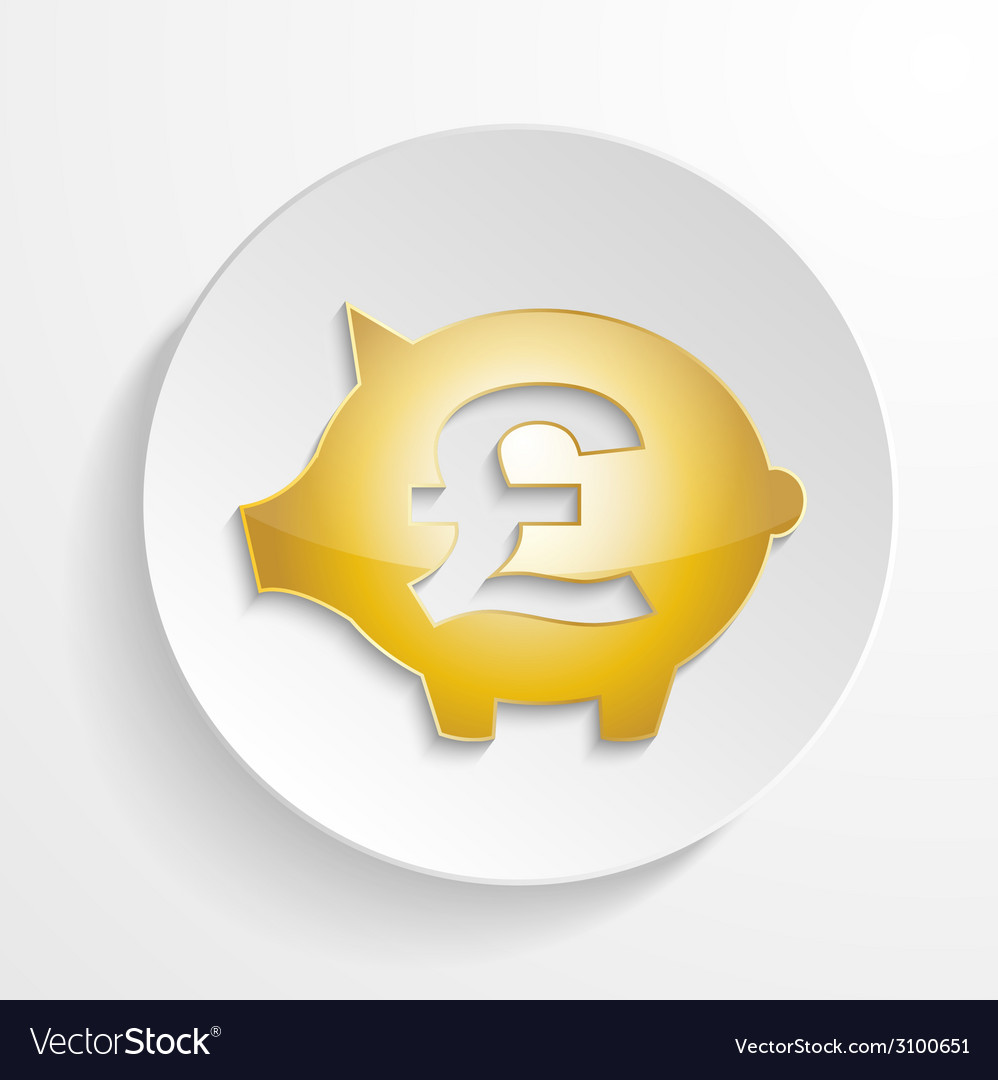 Button pound piggy bank design with shadow effect vector | Price: 1 Credit (USD $1)