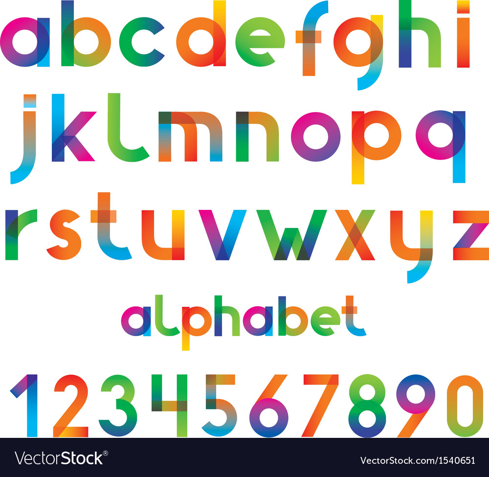 Colorful font and numbers vector | Price: 1 Credit (USD $1)