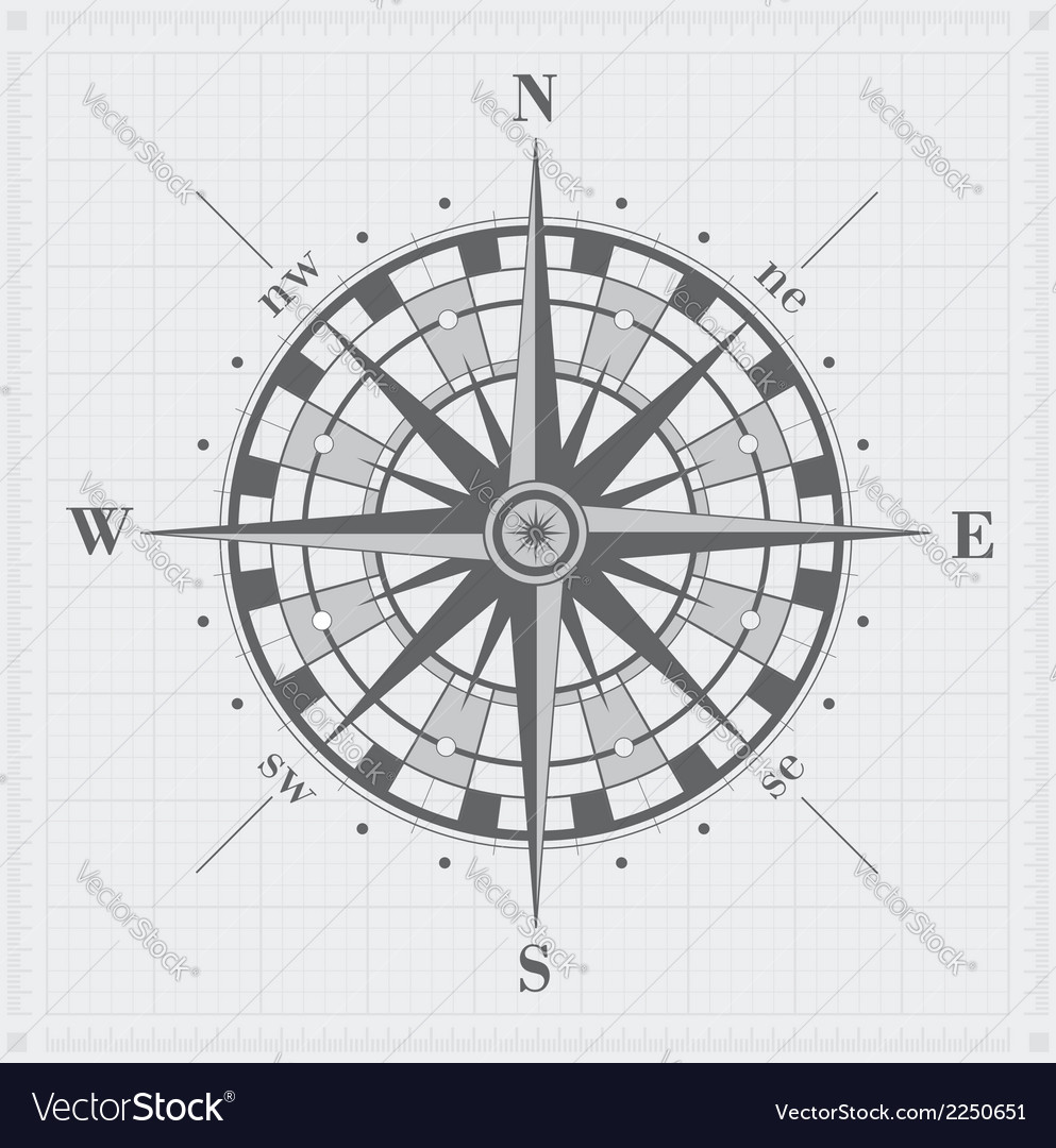 Compass rose over grid vector | Price: 1 Credit (USD $1)