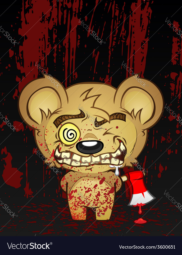 Demented teddy bear cartoon character vector | Price: 3 Credit (USD $3)