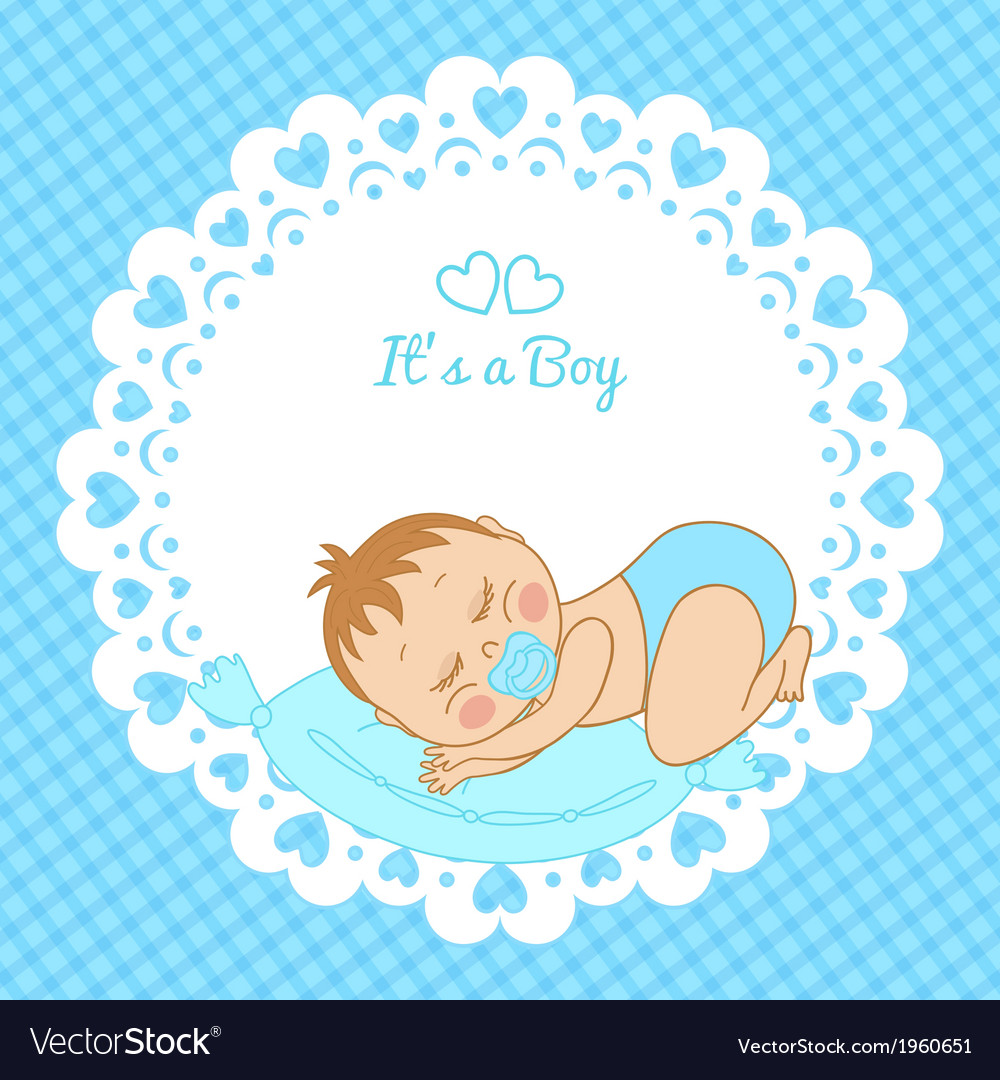 Greeting card with the birth of a boy vector | Price: 1 Credit (USD $1)