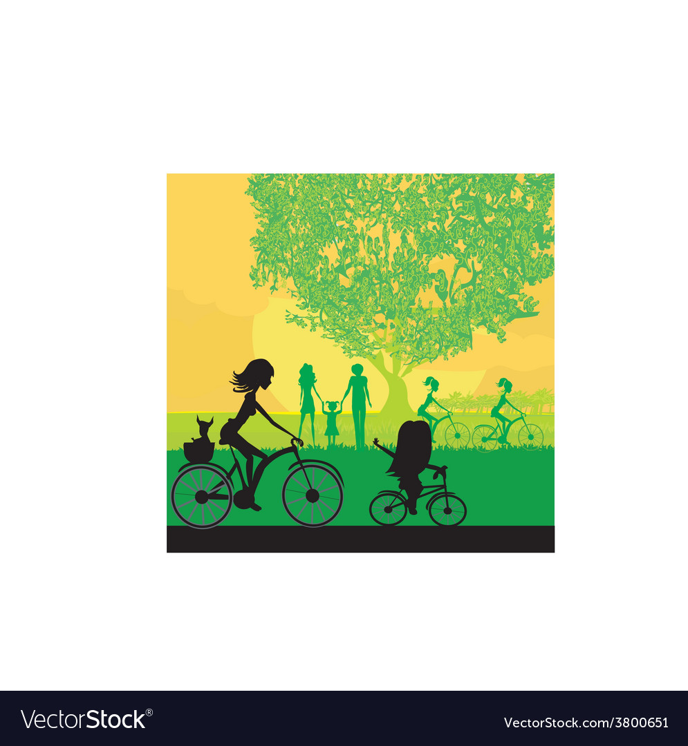 Mother and daughter biking in the park vector | Price: 1 Credit (USD $1)