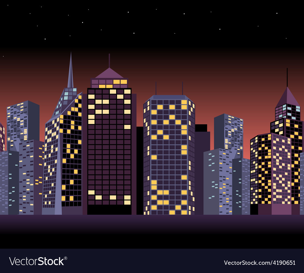 Seamless urban landscape with skyscrapers in night vector | Price: 1 Credit (USD $1)