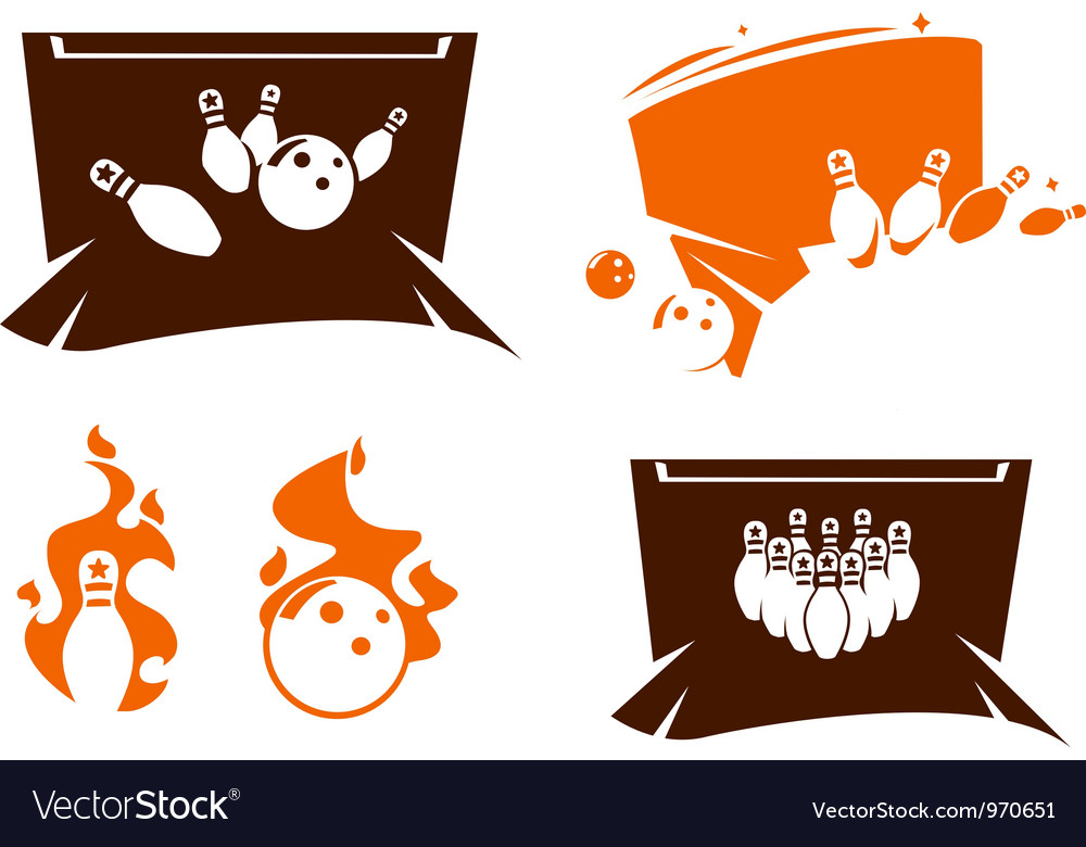 Set of bowling silhouette icons vector | Price: 1 Credit (USD $1)