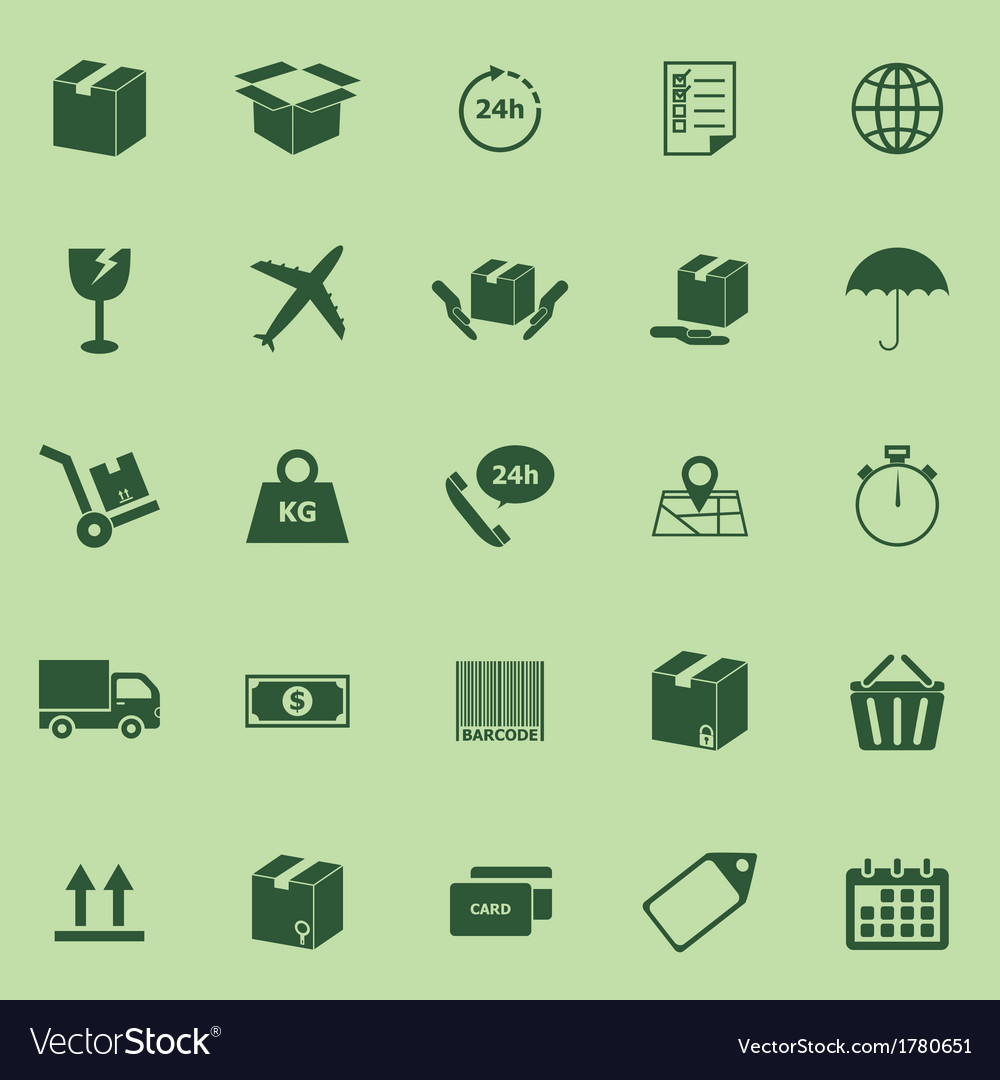 Shipping icons on green background vector | Price: 1 Credit (USD $1)