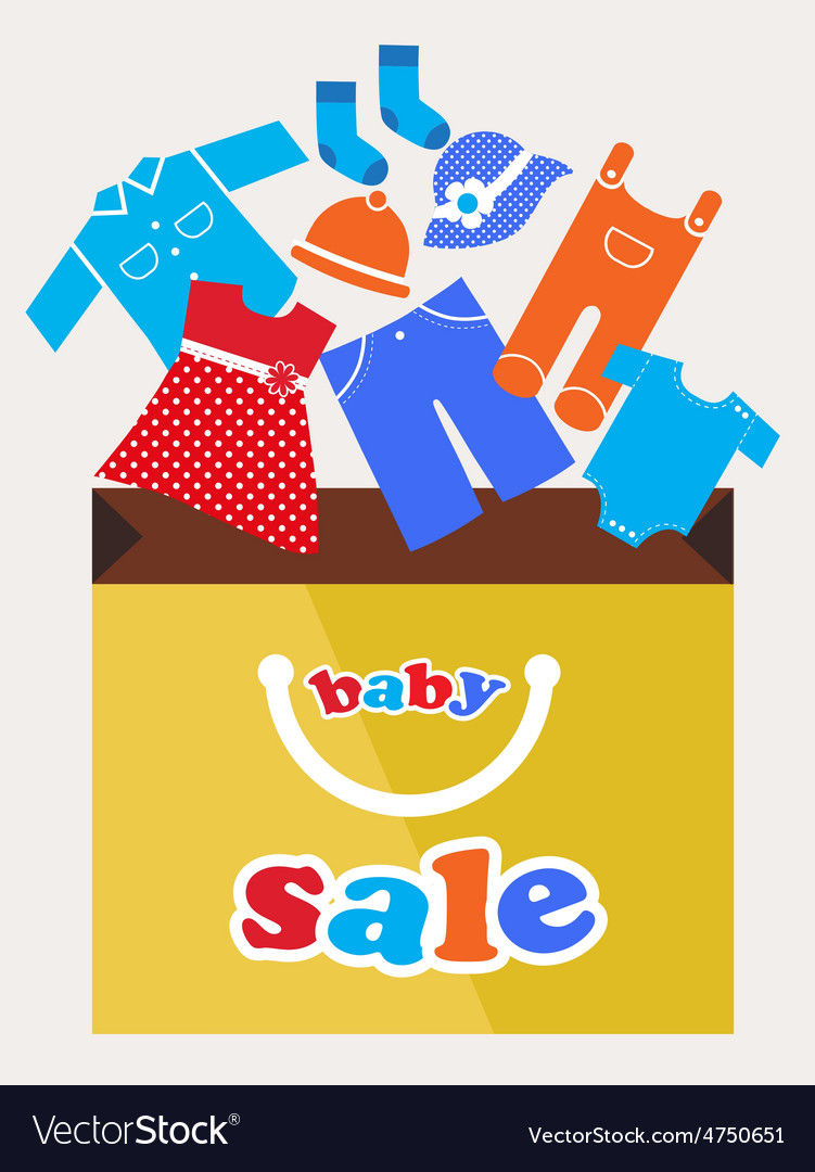 Shopping bag with baby toy and cloth icons vector | Price: 1 Credit (USD $1)