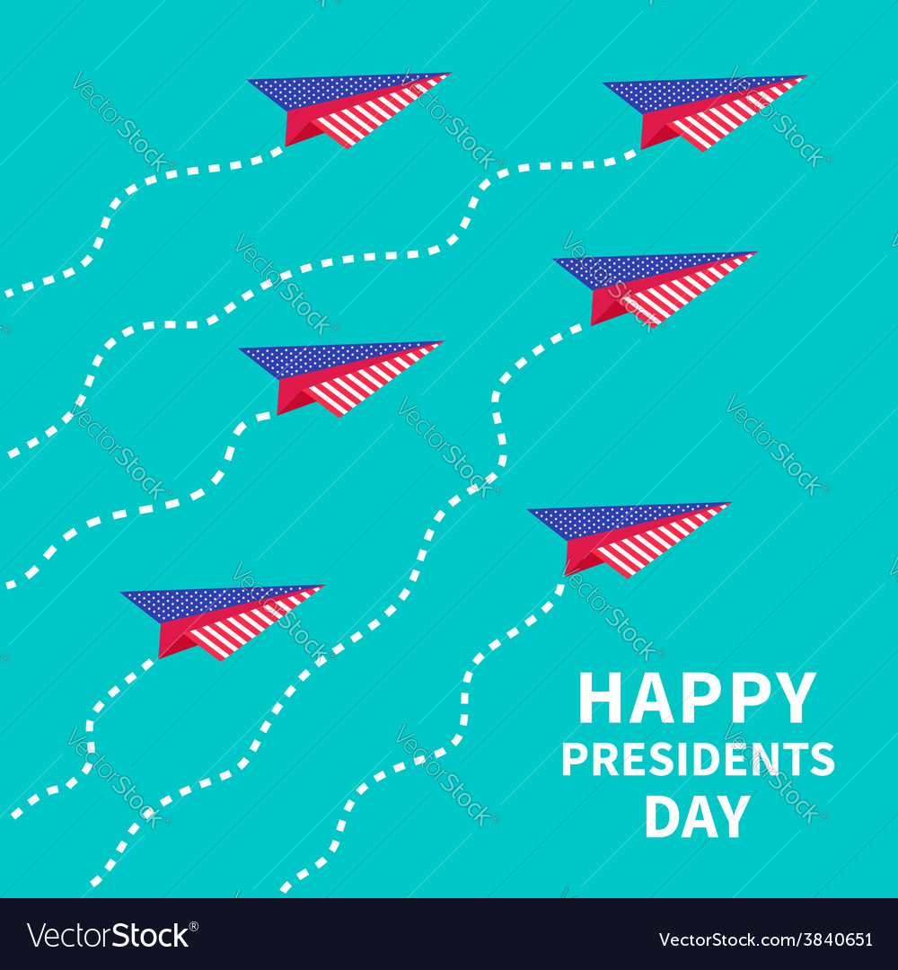 Six paper planes dash line presidents day vector | Price: 1 Credit (USD $1)