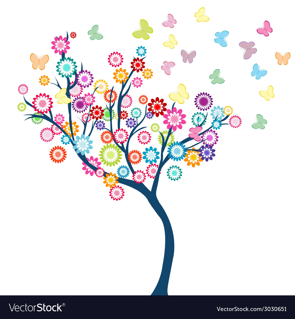 Tree with flowers and butterflies vector | Price: 1 Credit (USD $1)