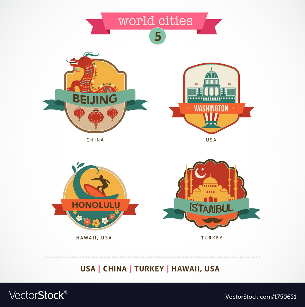 World cities labels - beijing istanbul honolulu vector | Price: 1 Credit (USD $1)