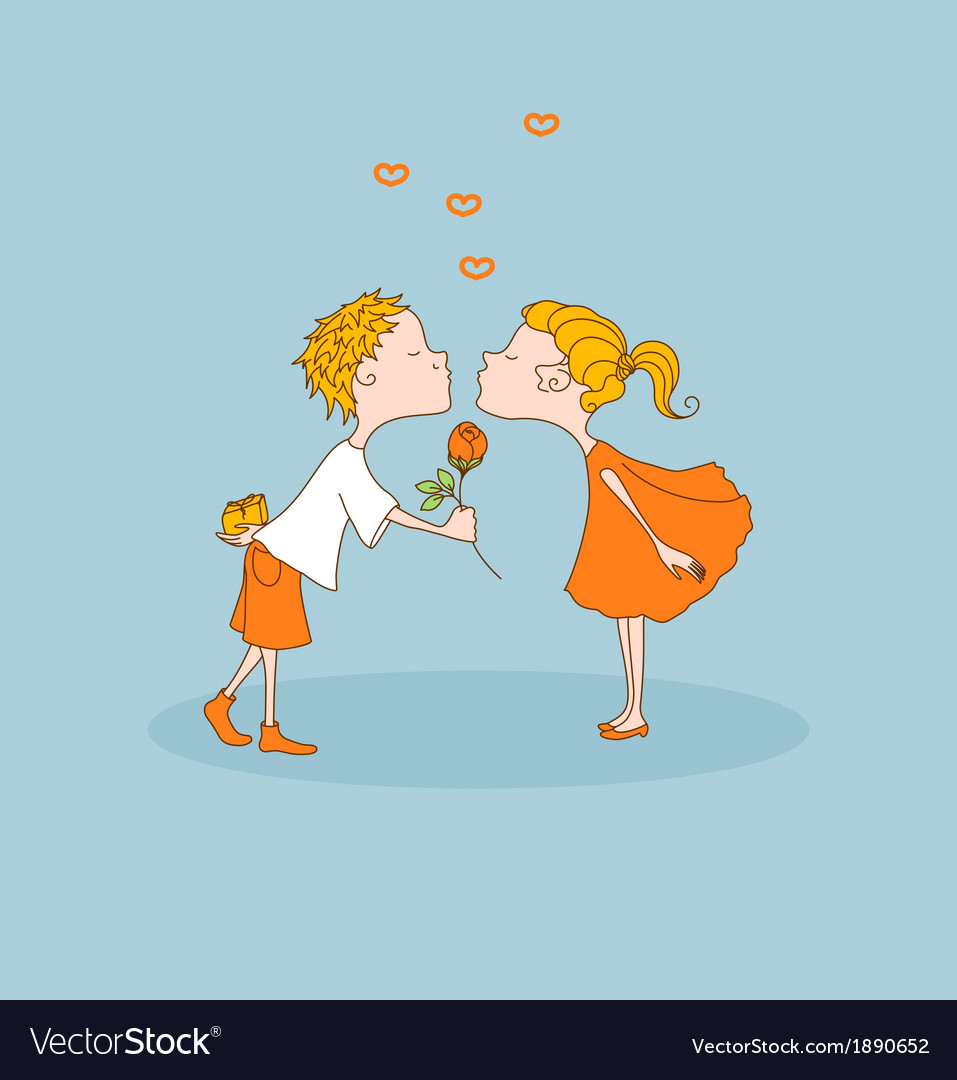 Boy kisses girl gives flower valentines day vector | Price: 1 Credit (USD $1)