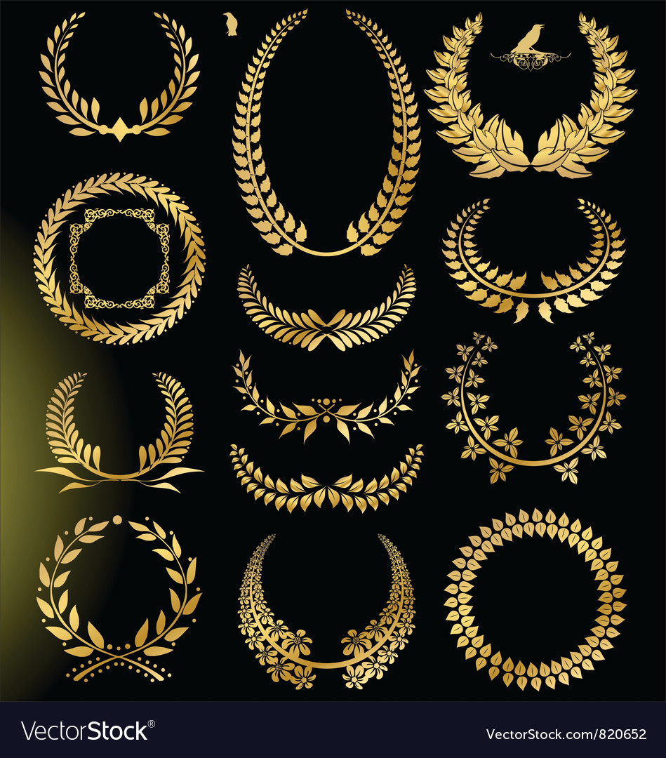 Golden laurel wreath - set vector | Price: 1 Credit (USD $1)