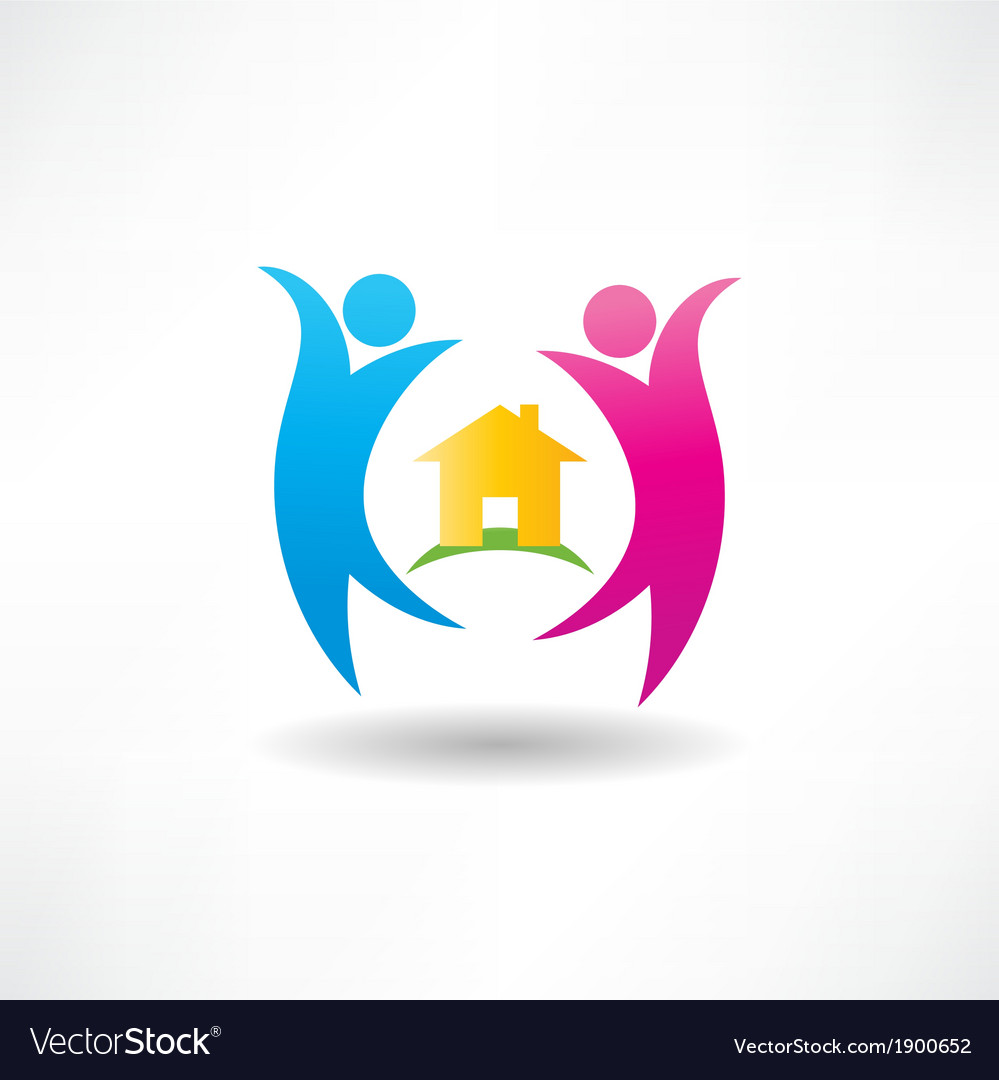 Happiness in the house icon vector | Price: 1 Credit (USD $1)