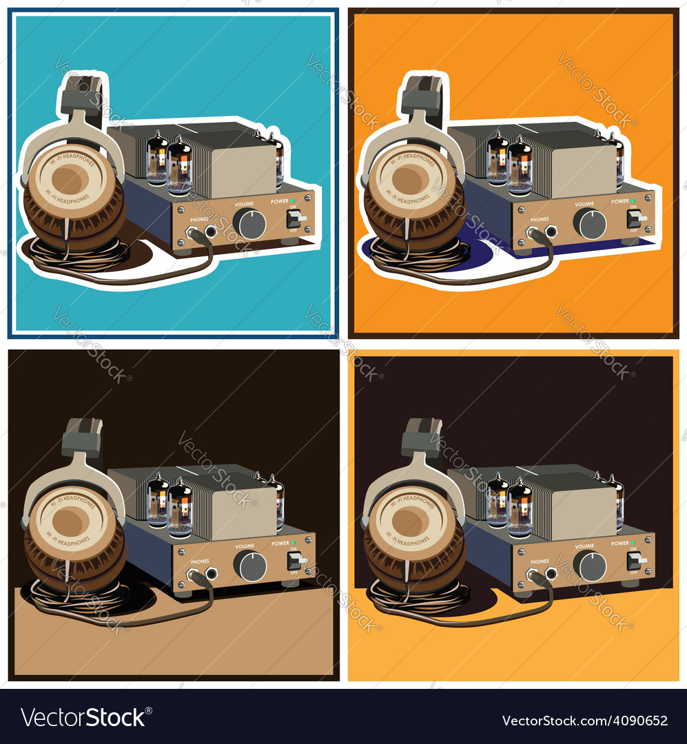 Headphones and amplifier set vector | Price: 3 Credit (USD $3)