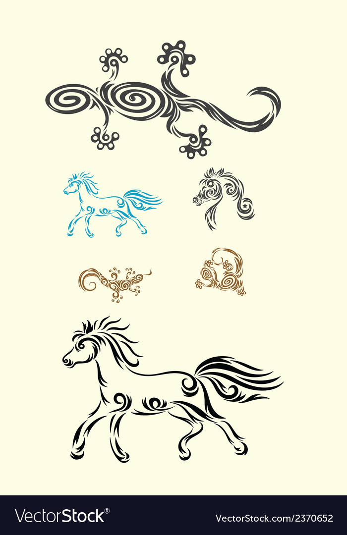 Lizard and horse vector | Price: 1 Credit (USD $1)