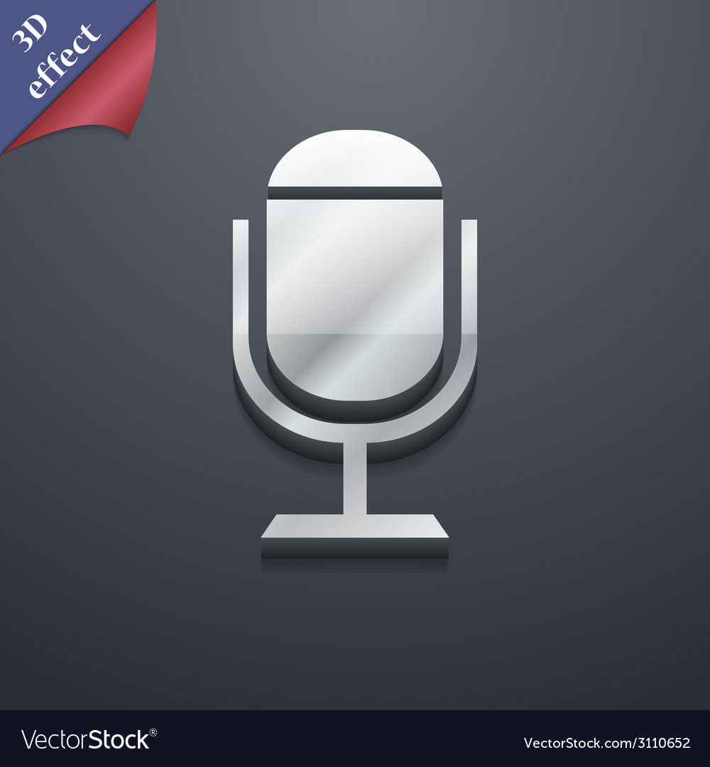 Microphone icon symbol 3d style trendy modern vector   Price: 1 Credit (USD $1)