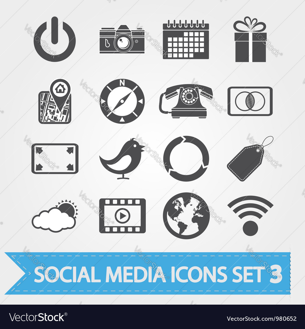 Social media icons set 3 vector | Price: 1 Credit (USD $1)