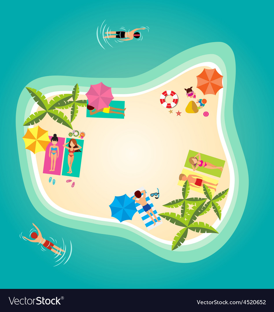 Summer holiday in tropical ocean island vector | Price: 1 Credit (USD $1)