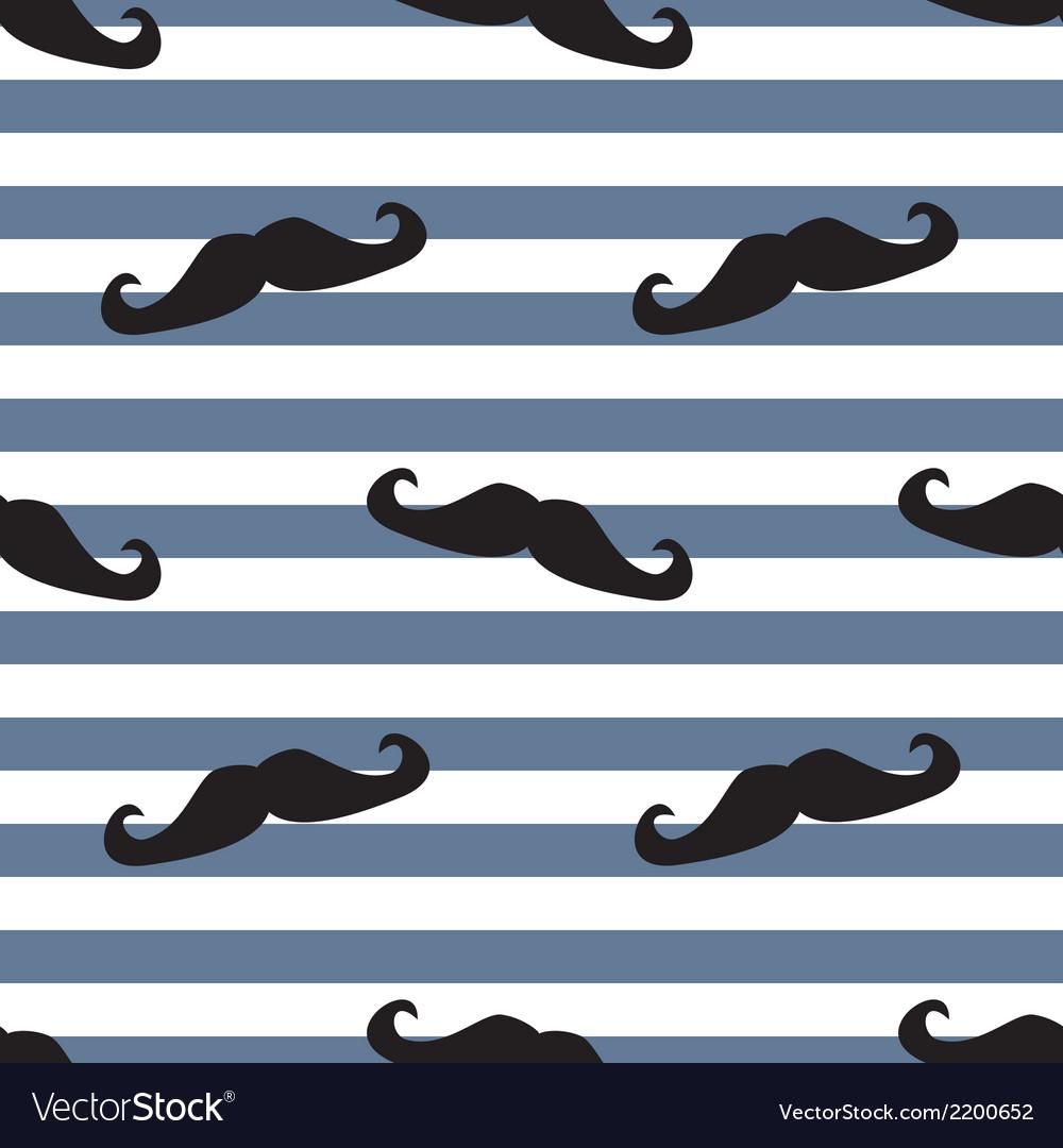 Tile moustache sailor blue white background vector | Price: 1 Credit (USD $1)