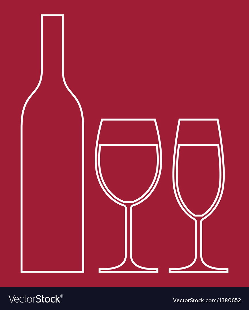 Wineglasses and bottle vector | Price: 1 Credit (USD $1)