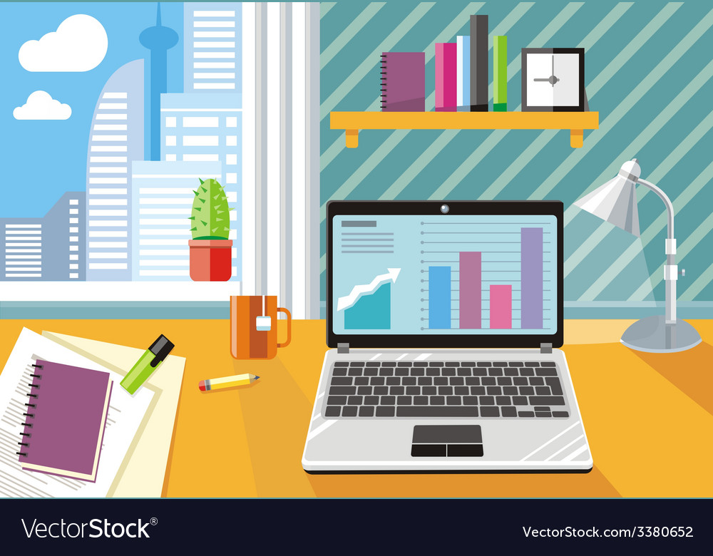 Workplace with laptop and documents vector | Price: 1 Credit (USD $1)