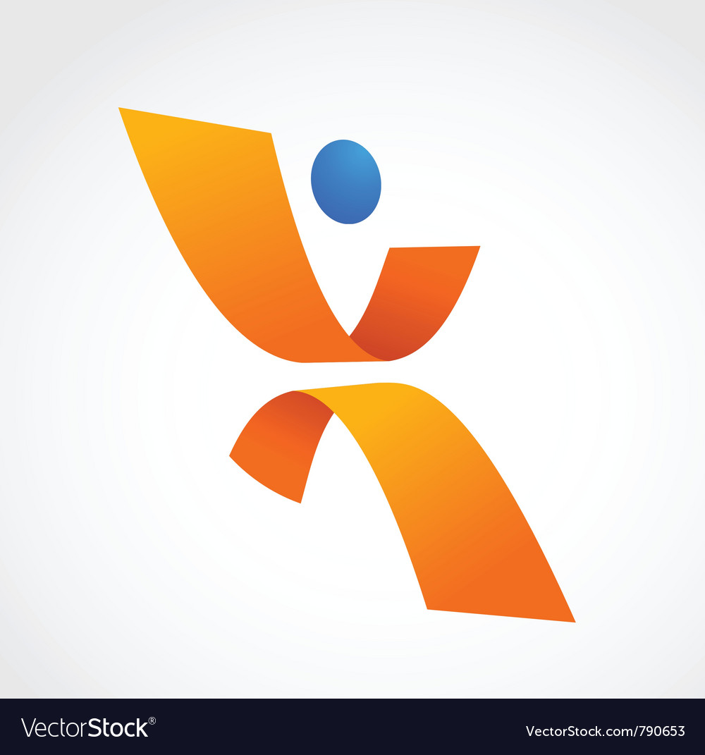 Abstract human icon orange and blue colors vector | Price: 1 Credit (USD $1)