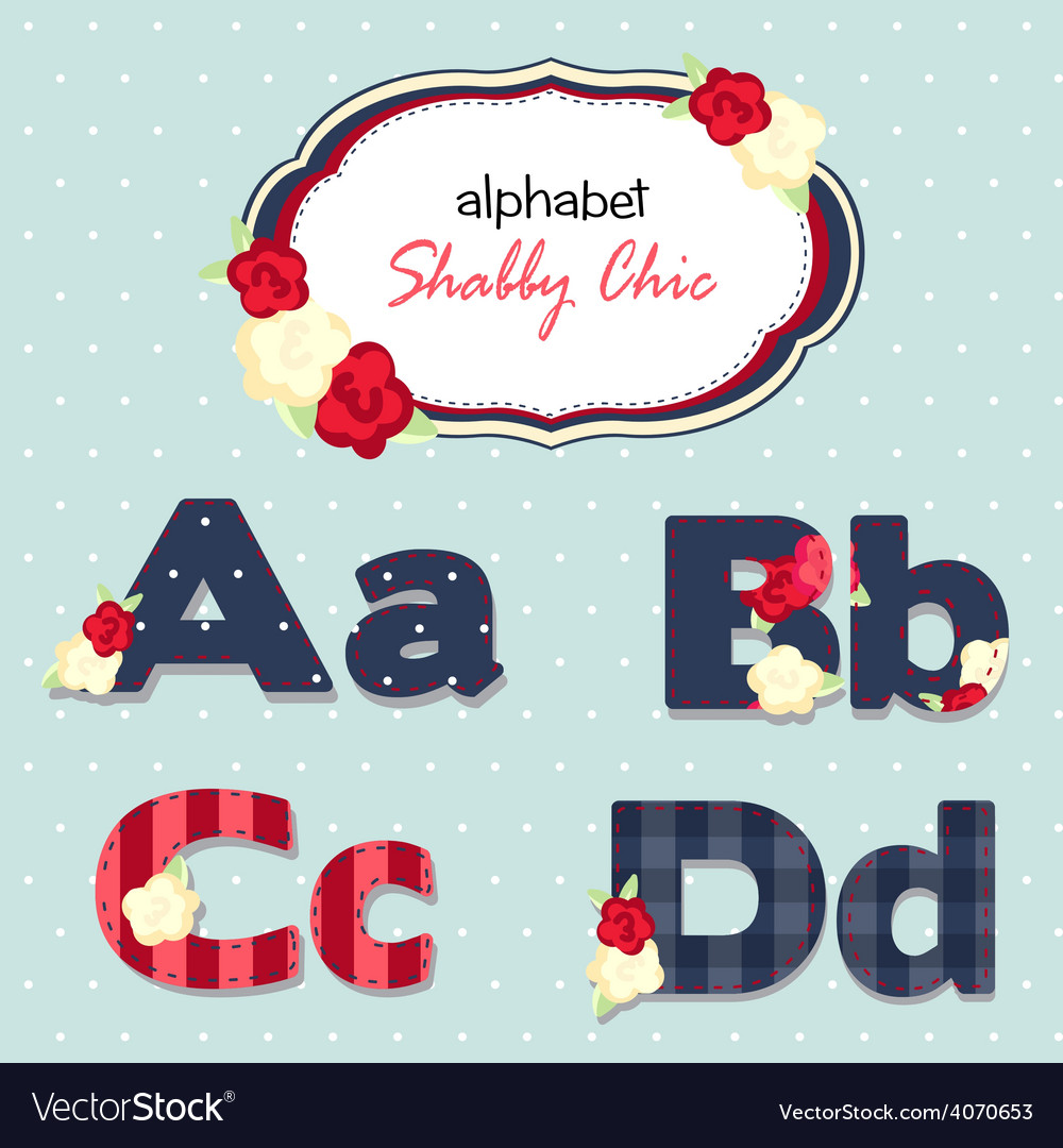 Alphabet shabby chic seamless swatch vector | Price: 1 Credit (USD $1)