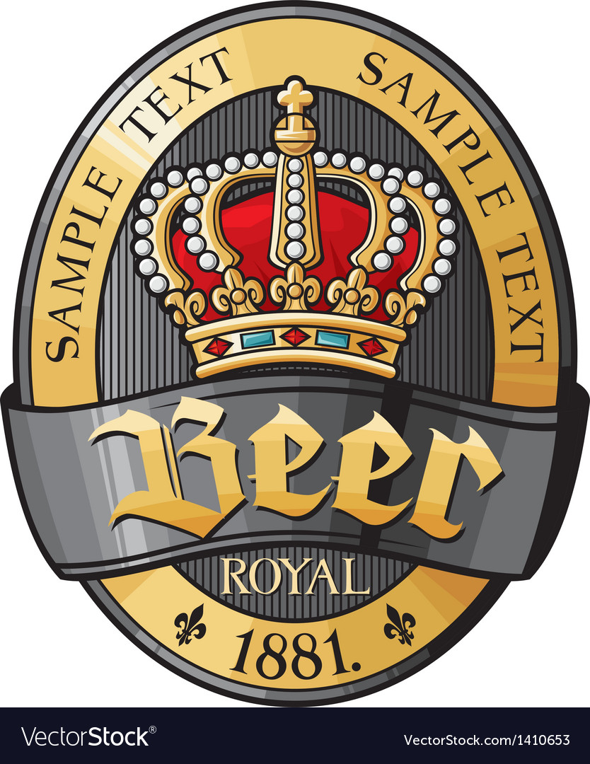 Beer label design with crown vector | Price: 1 Credit (USD $1)