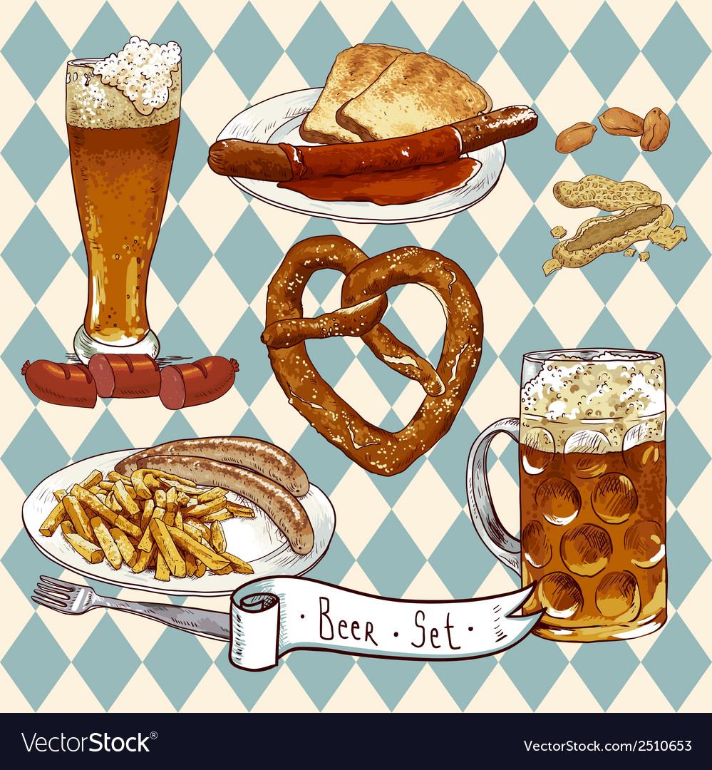 Beer set with beer glasses pretzel sausages vector | Price: 1 Credit (USD $1)