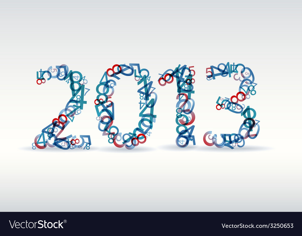 Blue new year card 2013 made from numbers vector | Price: 1 Credit (USD $1)