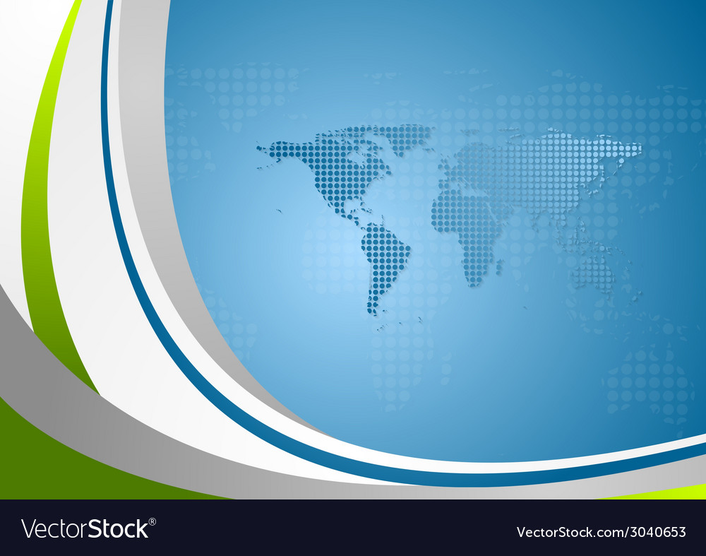 Bright wavy background with world map vector | Price: 1 Credit (USD $1)