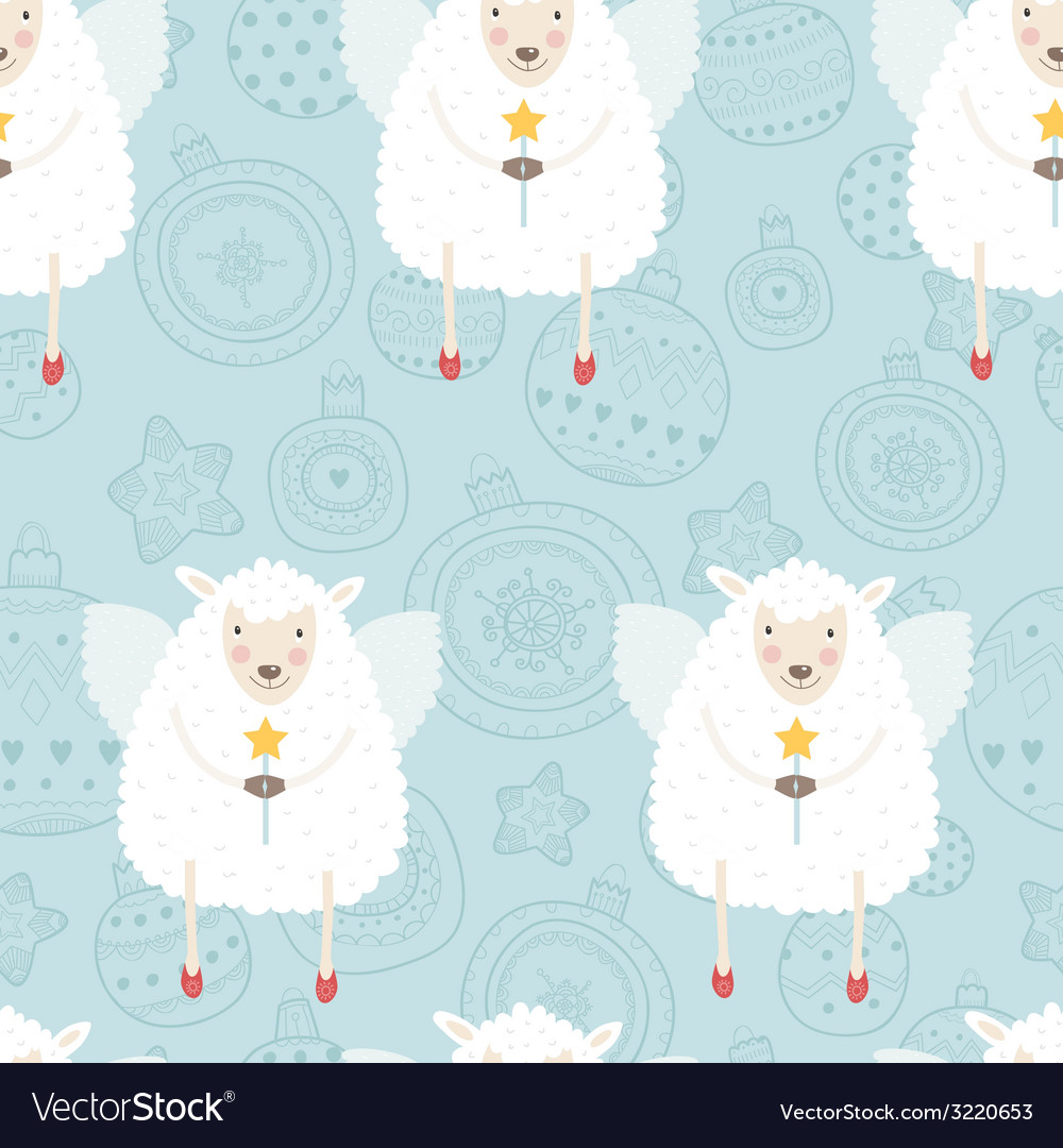 Christmas background with sheep vector | Price: 1 Credit (USD $1)