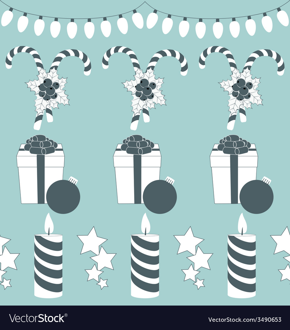 Christmas set isolated on blue vector   Price: 1 Credit (USD $1)