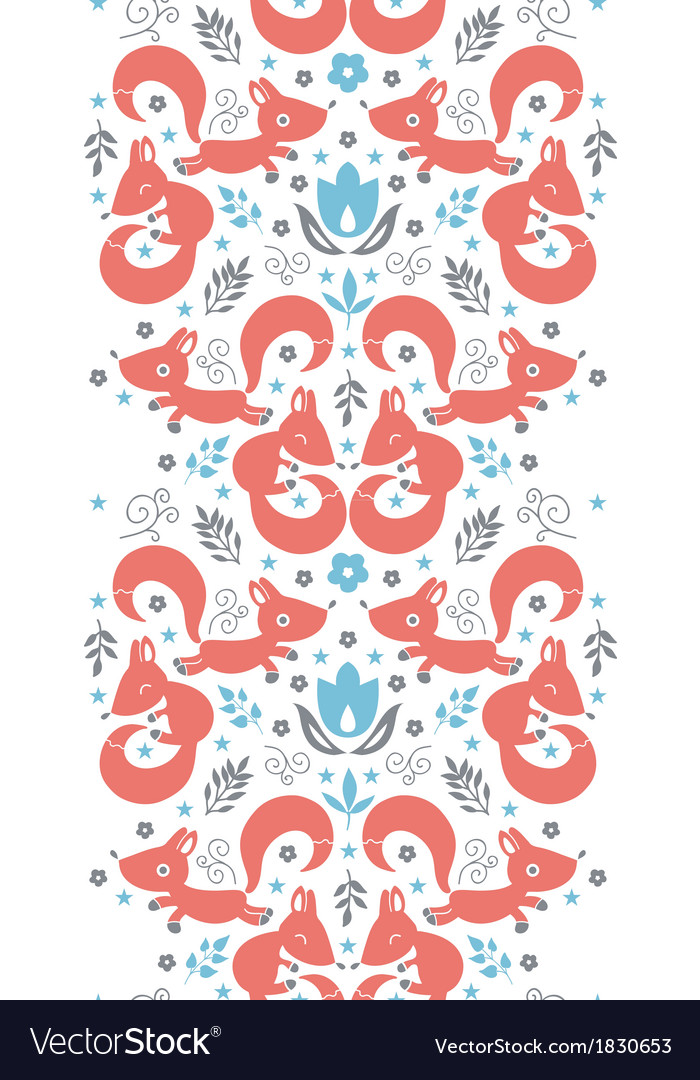 Cute foxes horizontal vertical border seamless vector | Price: 1 Credit (USD $1)