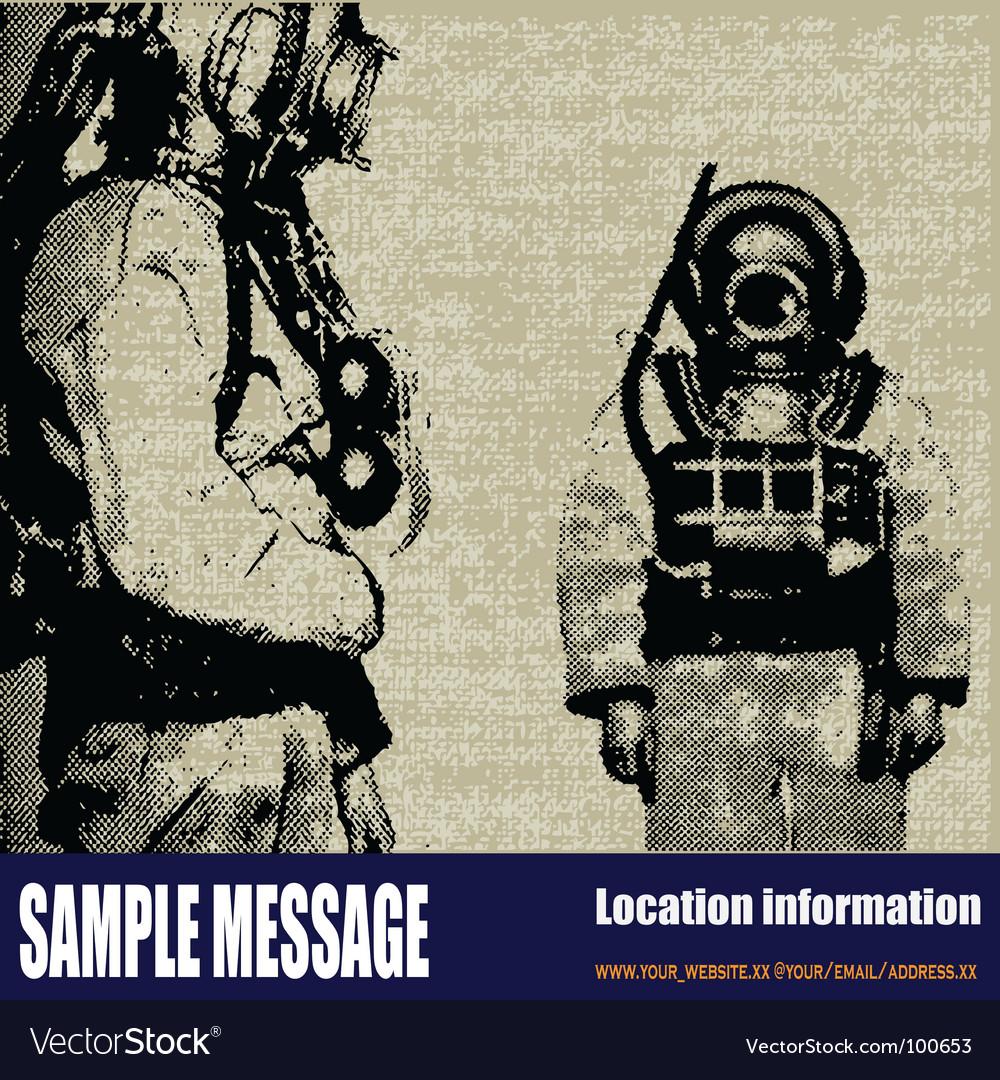 Deep sea diver background vector | Price: 1 Credit (USD $1)