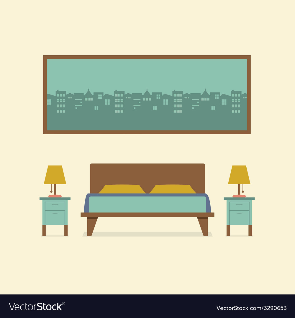 Flat design bedroom interior vector | Price: 1 Credit (USD $1)