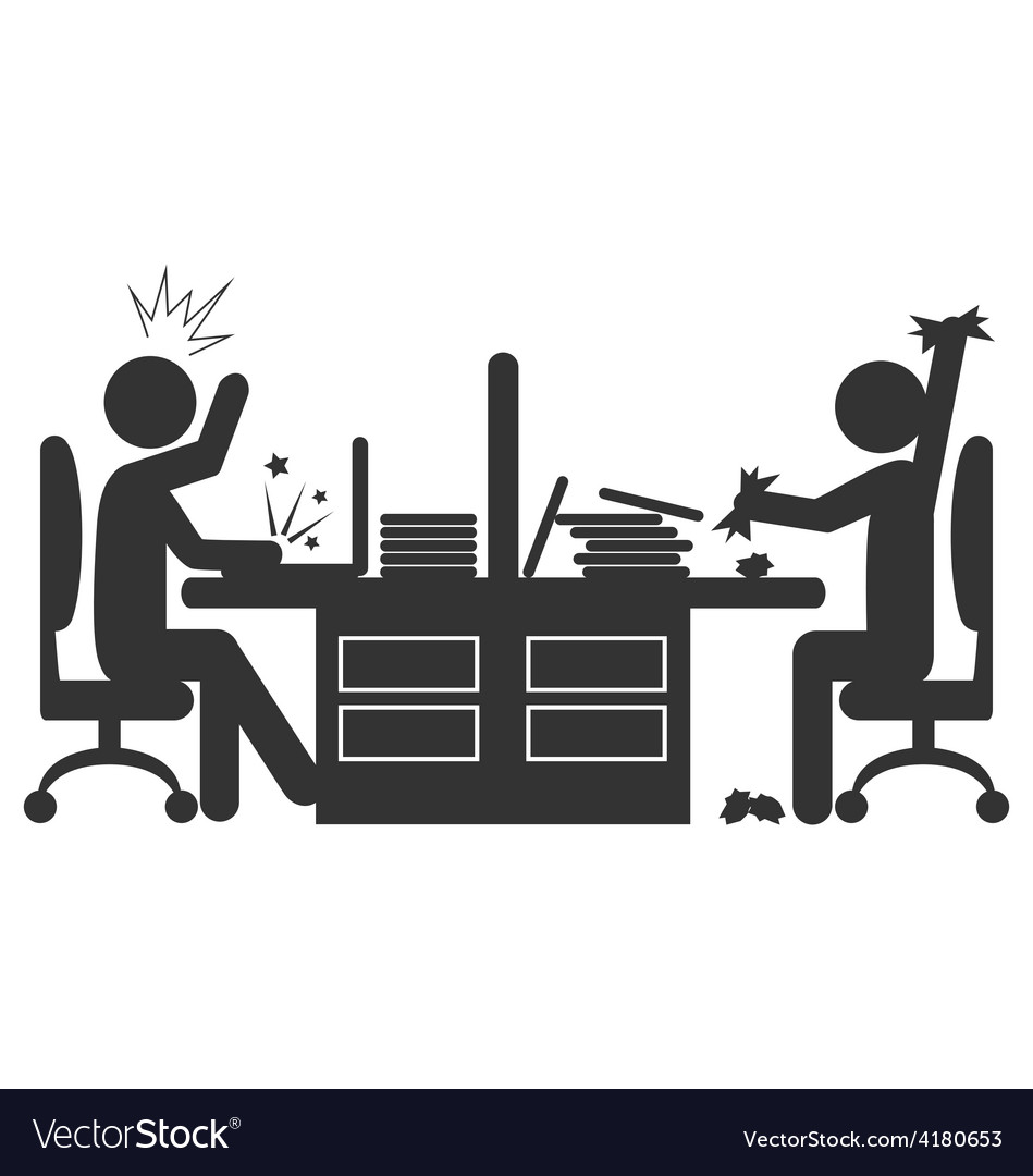 Flat office icon with angry workers isolated on vector | Price: 1 Credit (USD $1)