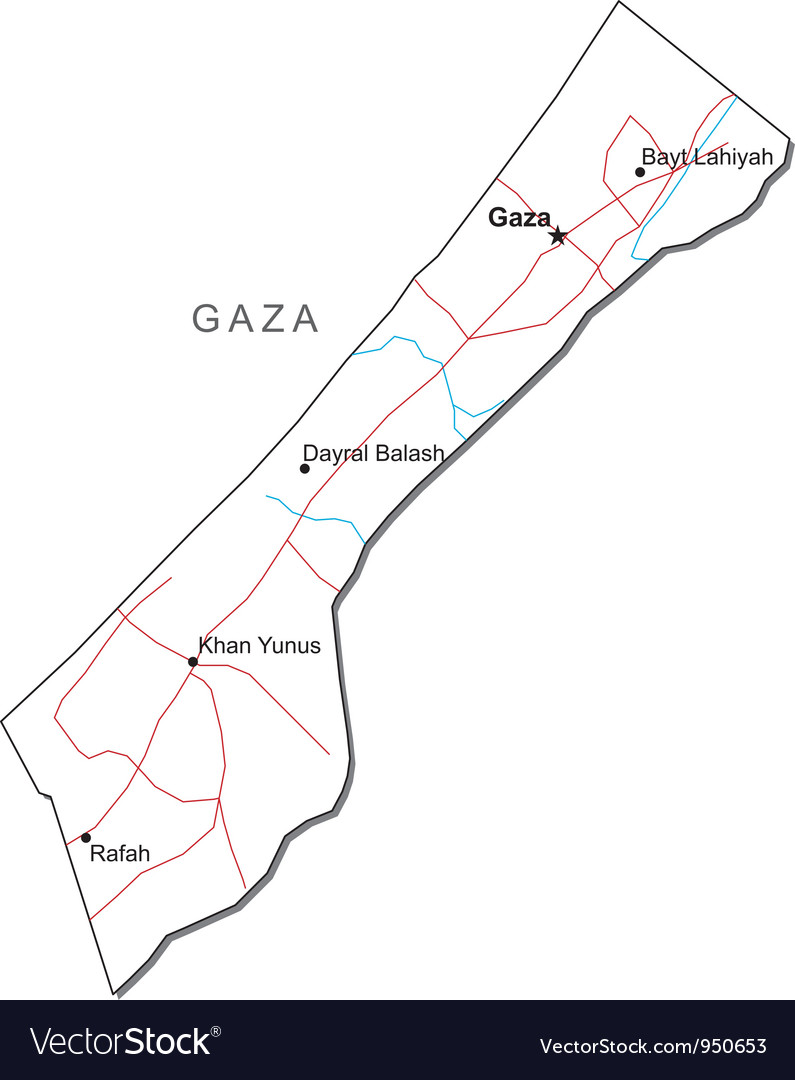 Gaza black white map vector | Price: 1 Credit (USD $1)