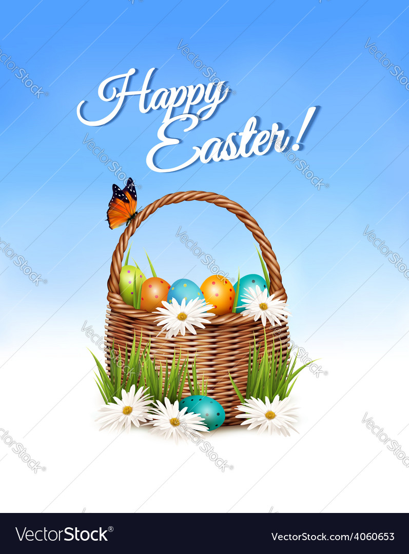 Happy easter background basket with eggs and a vector | Price: 3 Credit (USD $3)