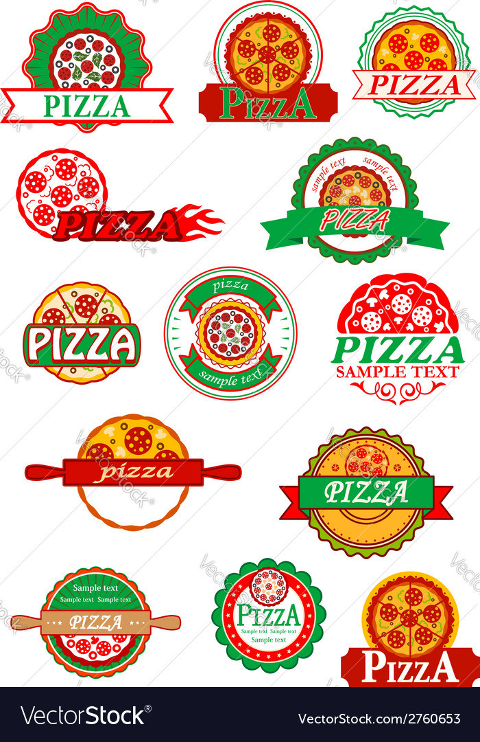 Italian pizza banners emblems and labels set vector | Price: 1 Credit (USD $1)
