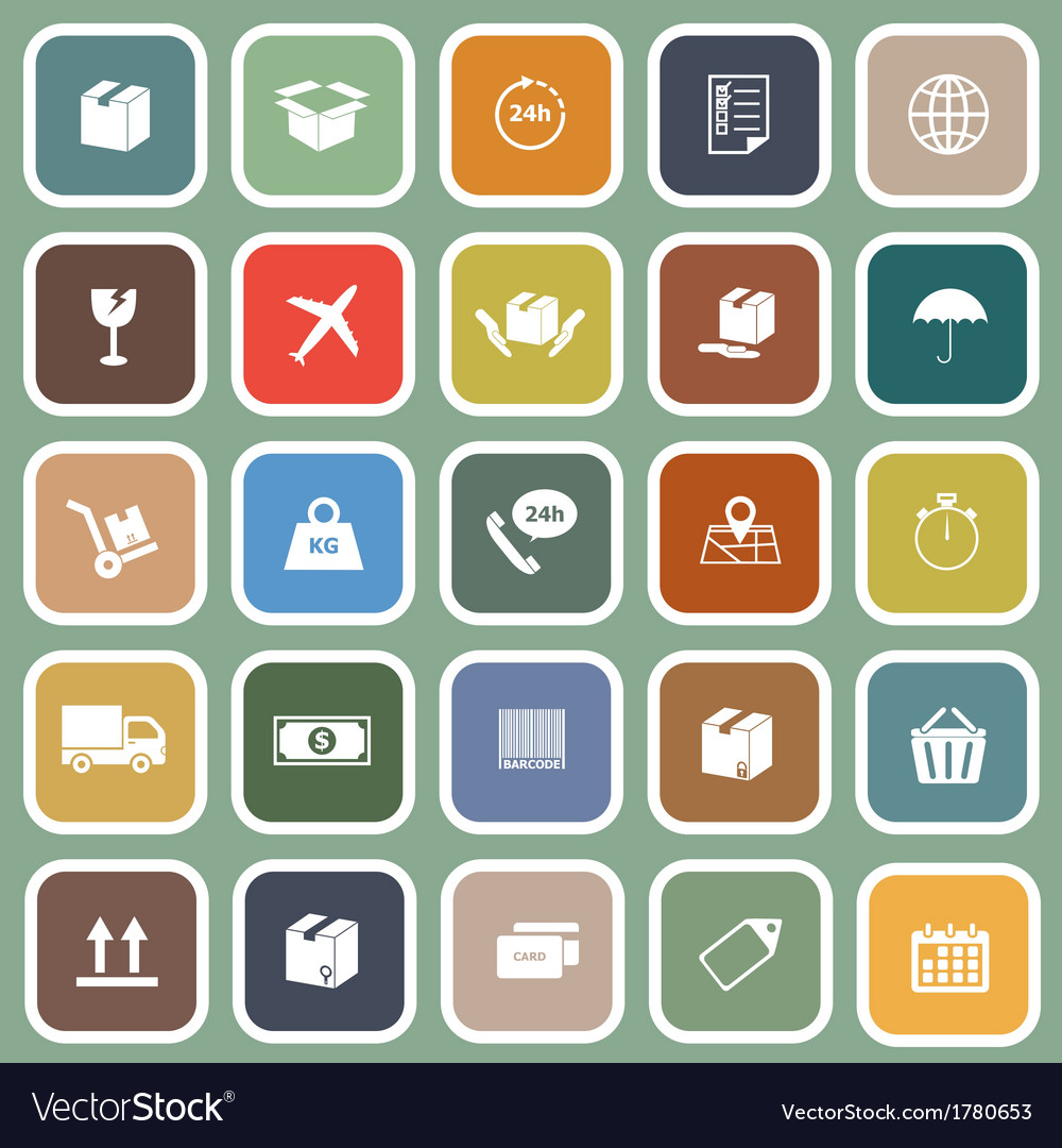 Shipping flat icons on green background vector | Price: 1 Credit (USD $1)
