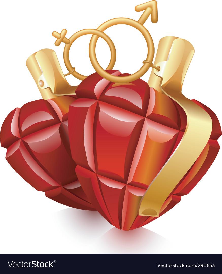 Two grenade hearts vector   Price: 3 Credit (USD $3)