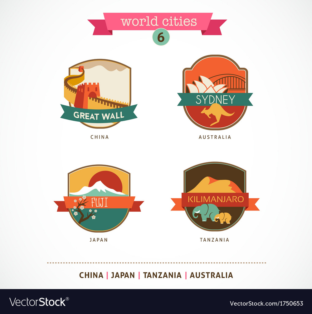 World cities labels - sydney great wall fuji vector | Price: 1 Credit (USD $1)