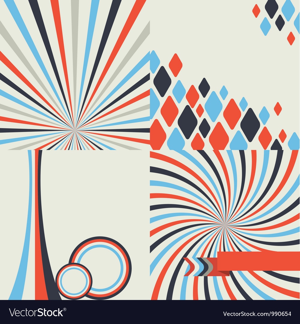 Abstract retro style geometric background set vector | Price: 1 Credit (USD $1)