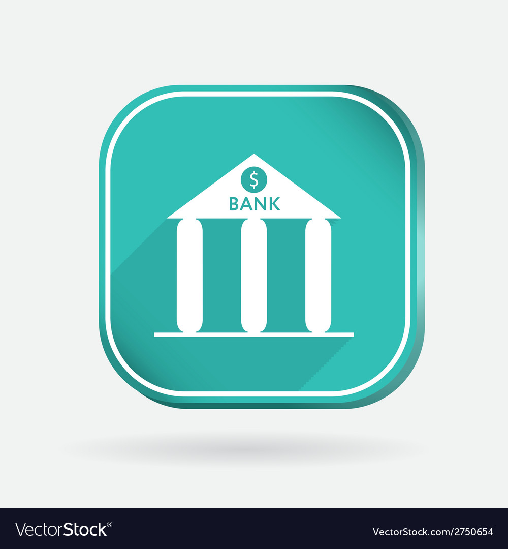 Bank building color square icon vector | Price: 1 Credit (USD $1)