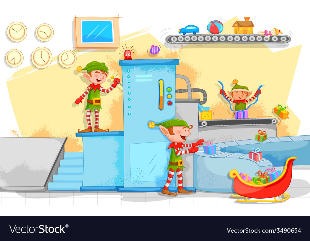 Elf making christmas gifts in toy factory vector | Price: 3 Credit (USD $3)