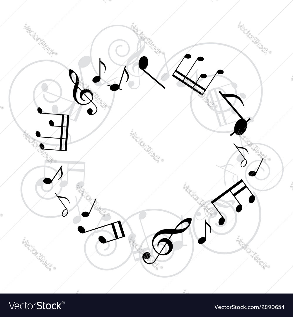 Round music frame vector | Price: 1 Credit (USD $1)