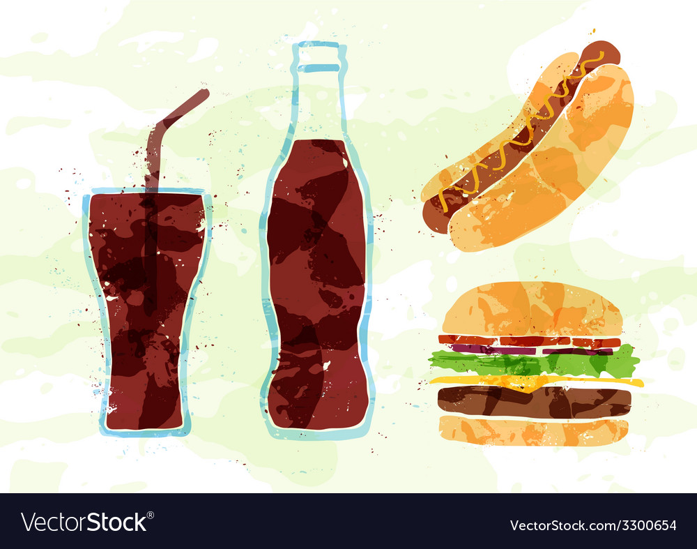 Set of fast food multicolored watercolor vector | Price: 1 Credit (USD $1)