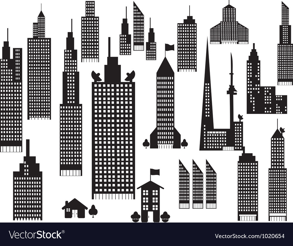Silhouette of perspective city buildings vector   Price: 1 Credit (USD $1)